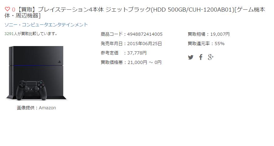 【買取】プレイステーション4本体 ジェットブラック(HDD 500GB/CUH-1200AB01)[ゲーム機本体・周辺機器]