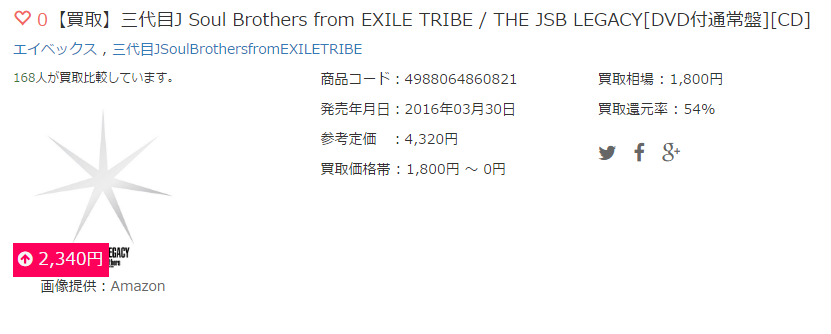 【買取】三代目J Soul Brothers from EXILE TRIBE / THE JSB LEGACY[DVD付通常盤][CD]