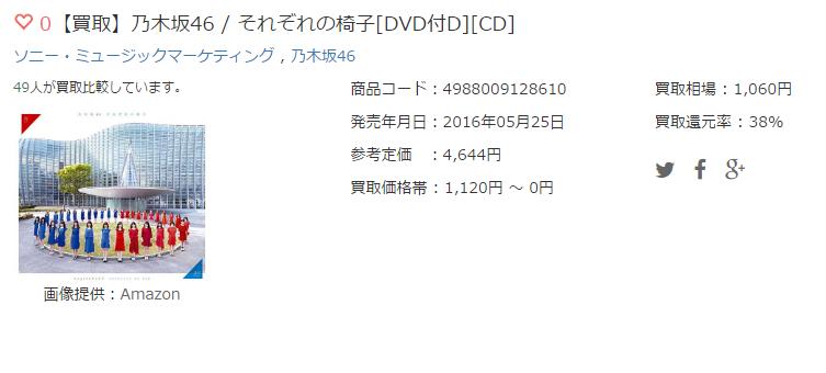 【買取】乃木坂46 / それぞれの椅子[DVD付D][CD]