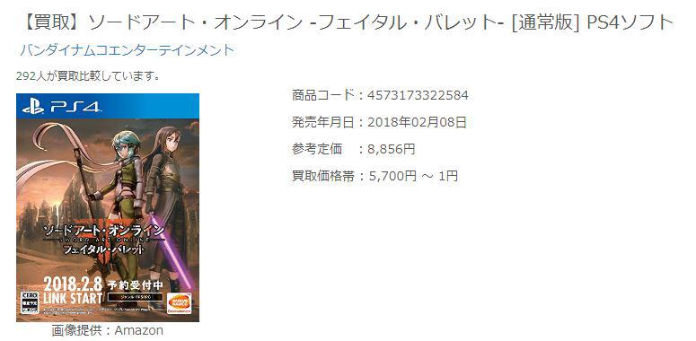 ソードアート・オンライン -フェイタル・バレット- [通常版] PS4ソフトのコピー