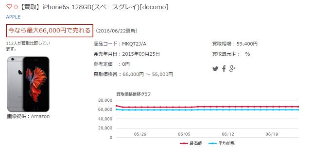 【買取】iPhone6s 128GB(スペースグレイ)[docomo]