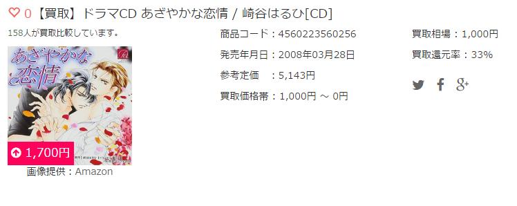【買取】ドラマCD あざやかな恋情 / 崎谷はるひ[CD]