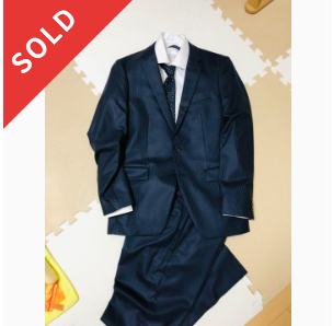 タケオキクチ ネイビーシャドーストライプ スーツ 濃紺 美品